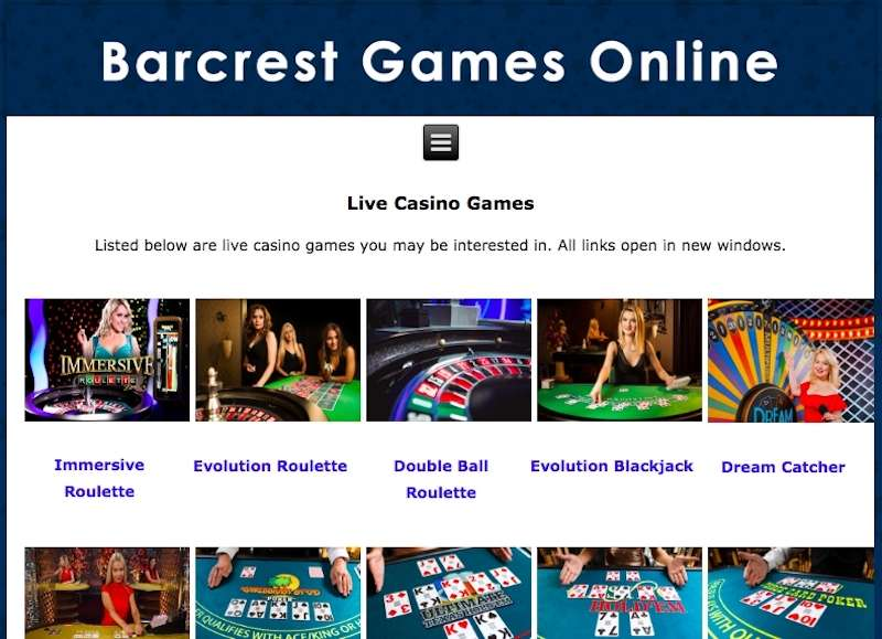Barcrest Live Casino Games