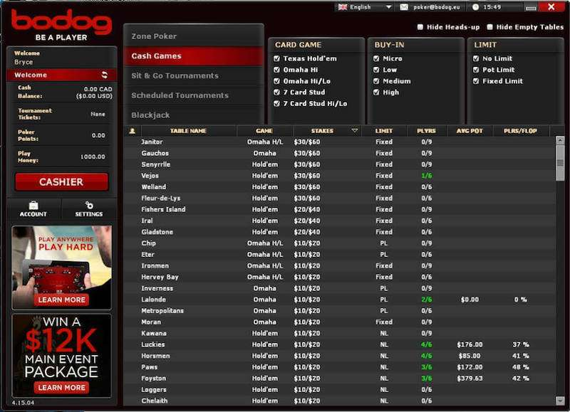 Bodog Poker Rooms