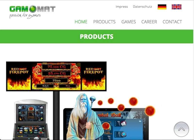 Gamomat Home Page